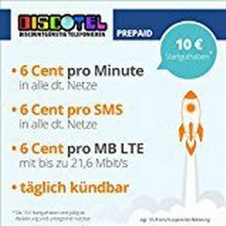 discoTEL LTE Prepaid 6 Cent inkl. 10 Euro Startguthaben [SIM, Micro/SIM und Nano/SIM] täglich kündbar (6 Cent pro Minute, 6 Cent pro SMS, 6 Cent pro MB) O2/Netz